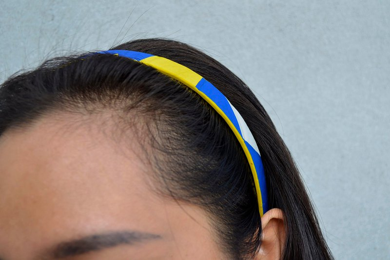 Volleyball x headband / fine version / mikasa yellow blue white section number 012