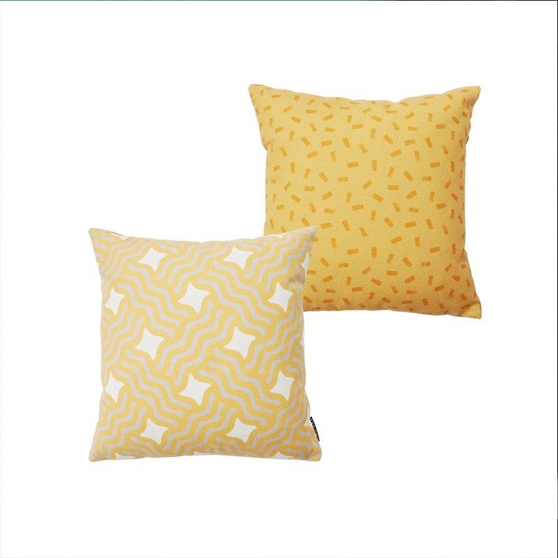 草稿CIAOGAO 北歐ins美式幾何排列黃色AB款簡約沙發靠墊抱枕套