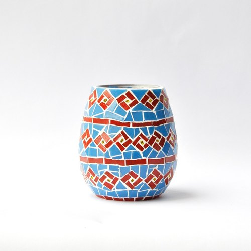 Square and round/ Handmade mosaic candlestick/ Vase/ Home decoration