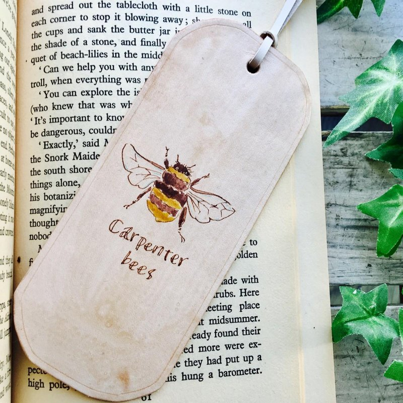 ~ Kumanbachi ~ Leather bookmark Botanical art style Carpenter bees