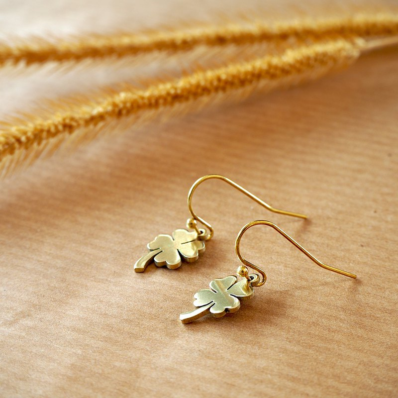 Mini lucky clover brass earrings (Handmade)