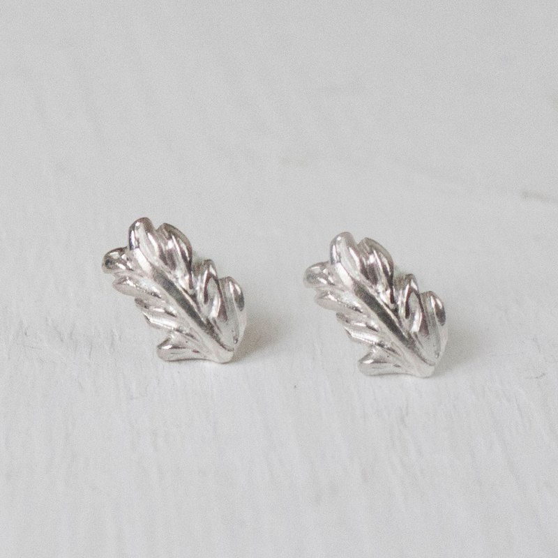 Feather Bay leaves-Silver Earrings