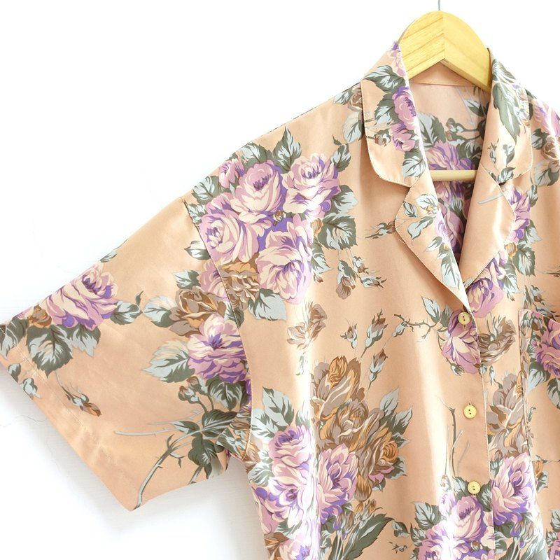 │Slowly│ Pink Chrysanthemum Rose - Vintage Shirt │vintage. Retro. Literature