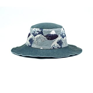 Calf Village Calf Village Men and women hand-made double-sided hat Fisherman's hat Gentleman hat Neutral retro Ukrainian painting {Golden Wave Fuji Mountain} 【H-330】