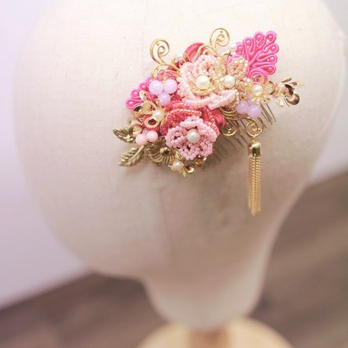 Bridal Headpiece, Brilliant Bridal Chinese Hair Accessories, Chinese Headdress, Bridal Floral Ornament, Skirt, Headdress