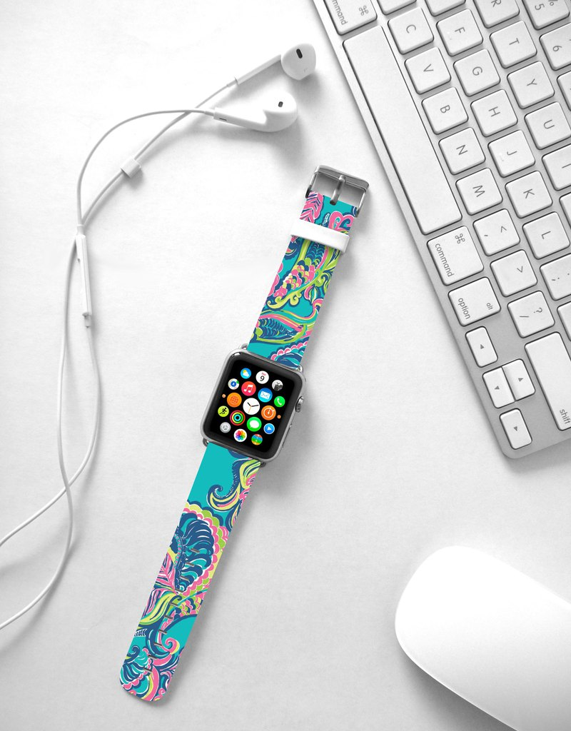 Watercolor flower floral leather Apple Watch Band 38 40 42 44 mm Series 5 4 003