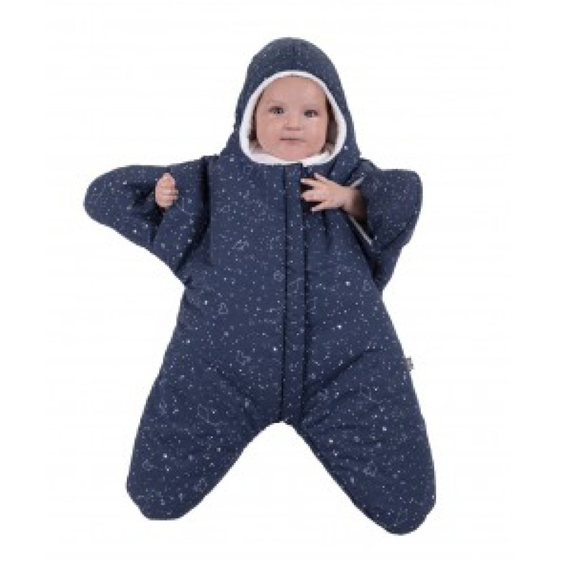 [Spanish] Shark bite a BabyBites cotton baby sleeping bag - midnight blue small starfish