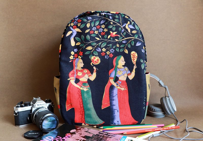 Middle Eastern ethnic retro backpack