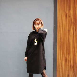 [Original design embroidery] Puni Palletta-Calico Cat Dress black dress embroidered three cat