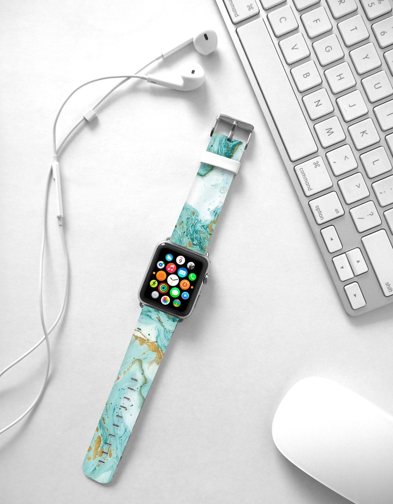 Ocean Blue Teal Agate marble leather strap Apple Watch Band 38 40 42 44 mm -311