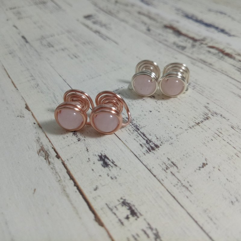 【Hongsheng jewelry】 ear clip earrings natural stone (pink crystal)