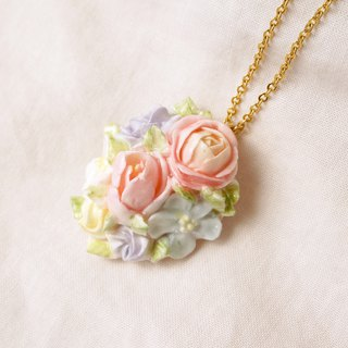 =Flower Piping= Bouquet Pendant Necklace Customizable