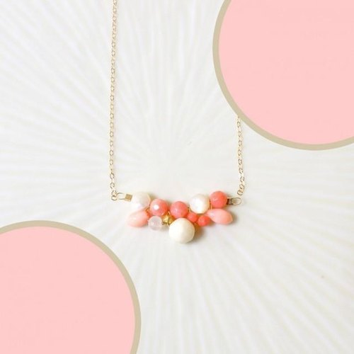 Coral and natural stone cluster necklace