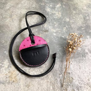 KAKU handmade leather gogoro key leather pink ostrich pattern + black
