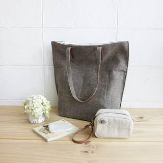 Simple Tote Bags Medium Size Botanical Dyed Linen-Cotton Blend Deep Brown Color
