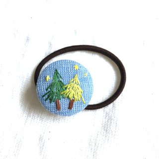 Pine embroidery plant hair ring