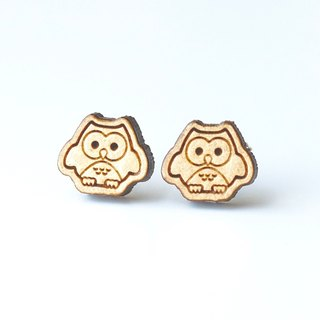 Plain wood earrings-Owl