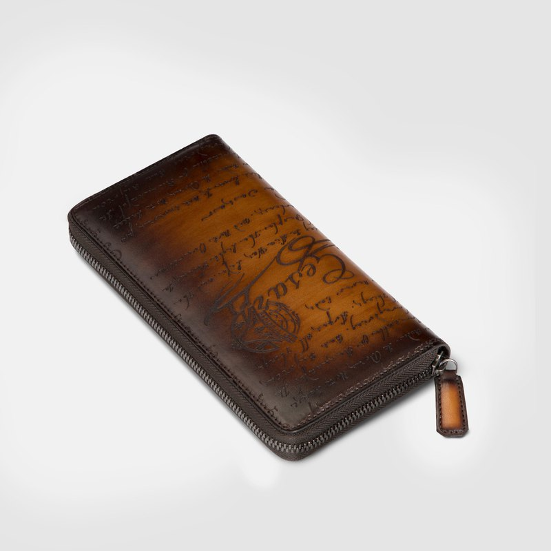 Leather art patina dyed calfskin carved long zipper wallet men's wallet