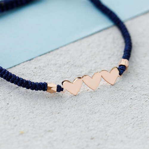 Heart Bracelet in Rose Gold with Dark Blue thread