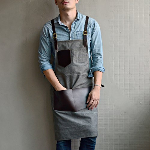 【Glove Invisible Cloak】 Cross Belt Design Kraft Wash Canvas Apron (Chocolate Color Leather + Gray Water Parcel Canvas)
