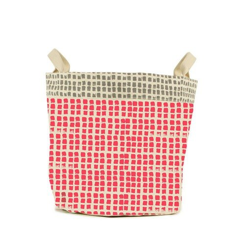 fluf Canadian organic cotton dual portable storage pocket - small dots (small) coral