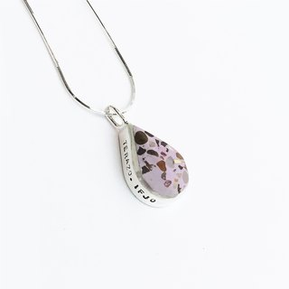 [Terrazzo] Water Drop - Light Purple Terrazzo Sterling Silver Necklace