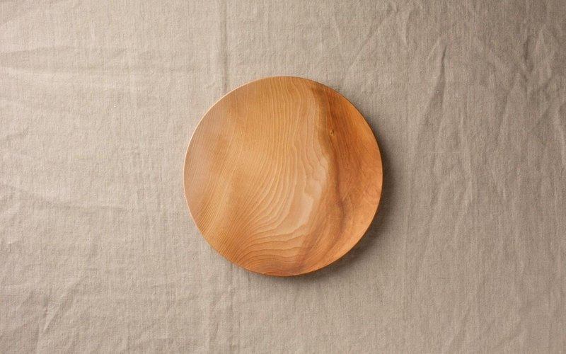 Wood 18cm of the potter's wheel grind of wooden plate Zelkova (Zelkova) 06
