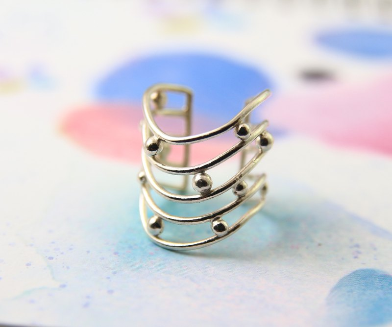 Sterling Silver Ring / Line&Circle / Stars' Track