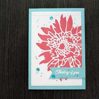 Apu hand card matte shaping cream safflower greeting card THINKING OF YOU