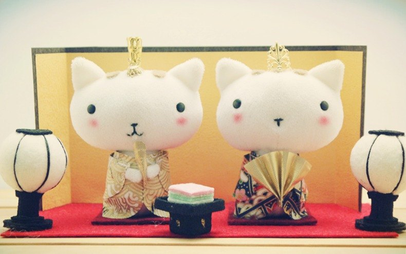 Bucute alal Cat Spring scene groups / healing Limited / birthday gift / handmade / hand made / Happy New Year / Lucky Cat / decorations / New Year / fortune / marriage