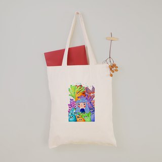 A-SYAN - Genie Monster Graduation Gift Wen Qing Style Flat Canvas Bag