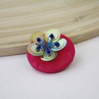 handmade yellow floral brooch,  round floral pin