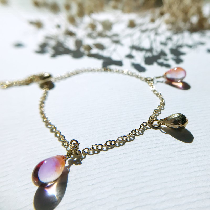 Raindrop Collection | Droplets in brass and glass Bracelet