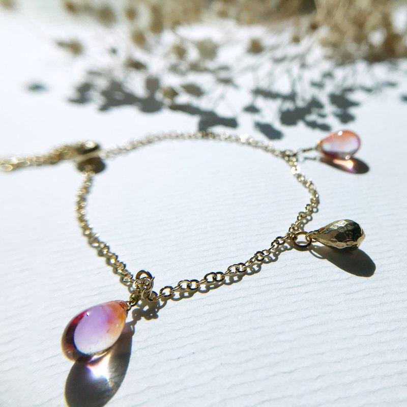 水滴系列 |  日本銅鑄切割面水滴 捷克玻璃珠 手鍊 閨蜜首飾