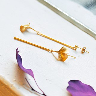 Elegant Cute Ginkgo Leaf 18K Gold Drop Earrings