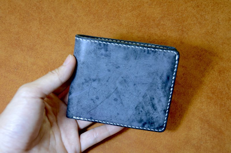 Simple short clip 6 card layer 1 banknote layer handmade Ili vegetable tanned association certified cowhide