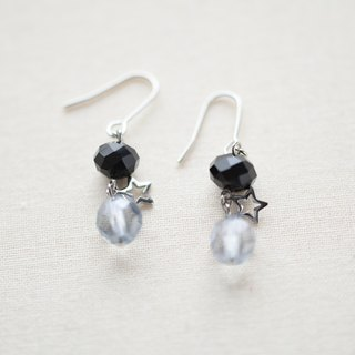 チェコビーズとスター①clip earrings②pierced earrings
