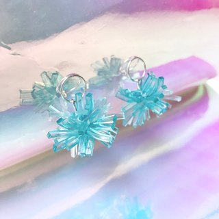 Cyan Crystal Coral Sterling Silver Earrings