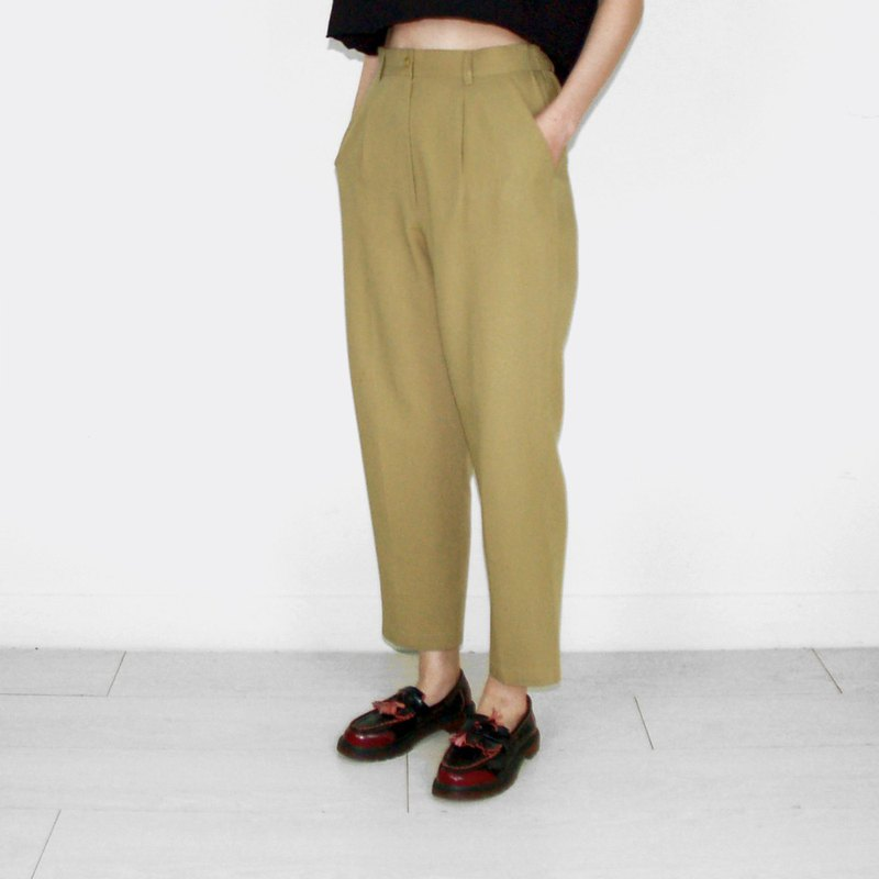 Mustard green plain vintage waist trousers BJ1032