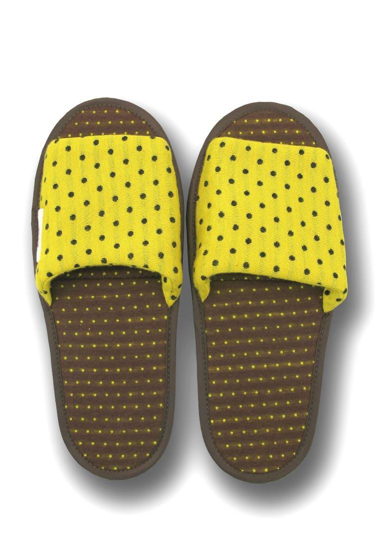 波點睡眠系列可摺式拖鞋 - 黃色和啡色