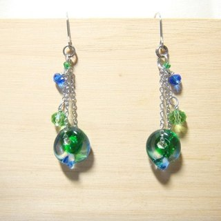 Grapefruit forest handmade glass - if the leaves - earrings - Starry blue x forest green - (can be clipped to increase the price)