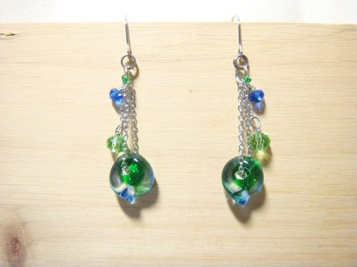 Grapefruit handmade glass - if leaves - earrings - star blue x forest green - (free fare increase folder type)