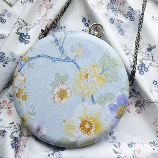 Bagel Bag - Baby Blue x White Flowers