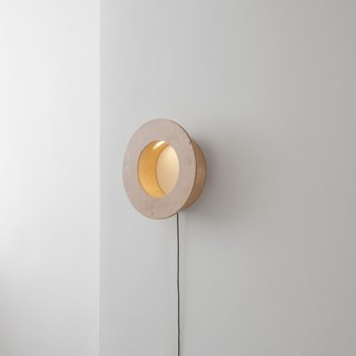 CAVE Circle storage wall lamp │ three-section touch dimming │ white birch
