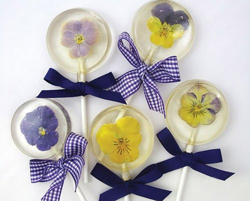 Edible flower lollipop graduation gift photo props [An twilight dessert] wedding small table gift ceremony ❥ flower lollipop glaze pure handmade birthday gift baby party lucky cake