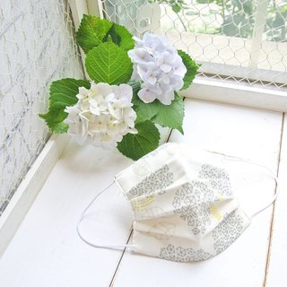 Natural cotton handmade mask Hydrangea White | Sensitive skin friendly