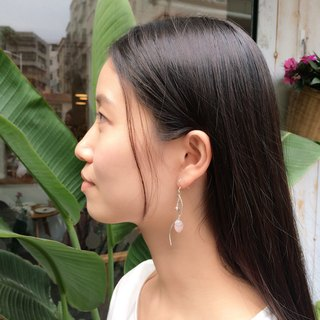 925 Silver wave crystal earrings ice leaf section models simple atmosphere