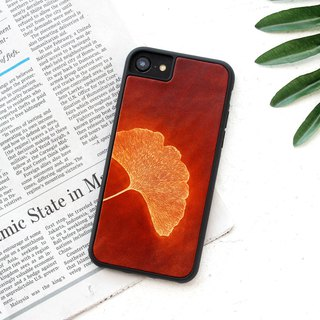 Red brown ginkgo leaf iphone 6 6s 7 8 plus x xs max xr leather phone case case