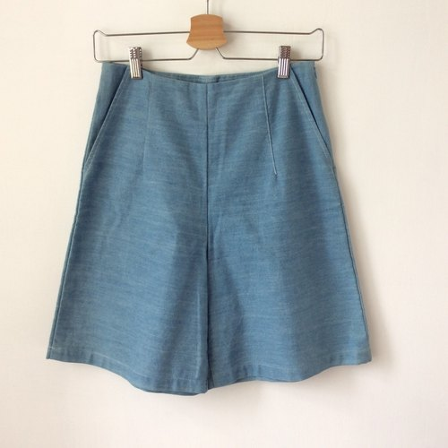 Sky blue denim wide pants - five minutes (washed tannins, shorts)