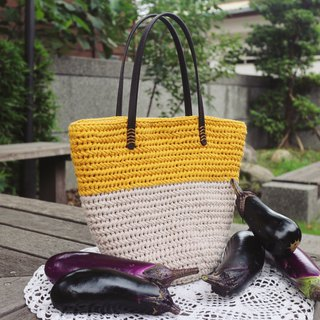 Handmade - color cotton rope bag - lady bag - warm hand-woven
